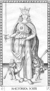 Rhetorica, the 23rd card in the Tarocchi Cards of mantegna.